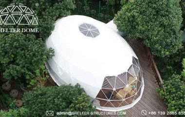 Elliptical Dome for Glamping Accommodation in Campsite Resort Oval Dome Suite with Bathroom