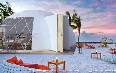 Shelter oval house for glamping living in beach side resort elliptical dome with waterproof PVC fabric